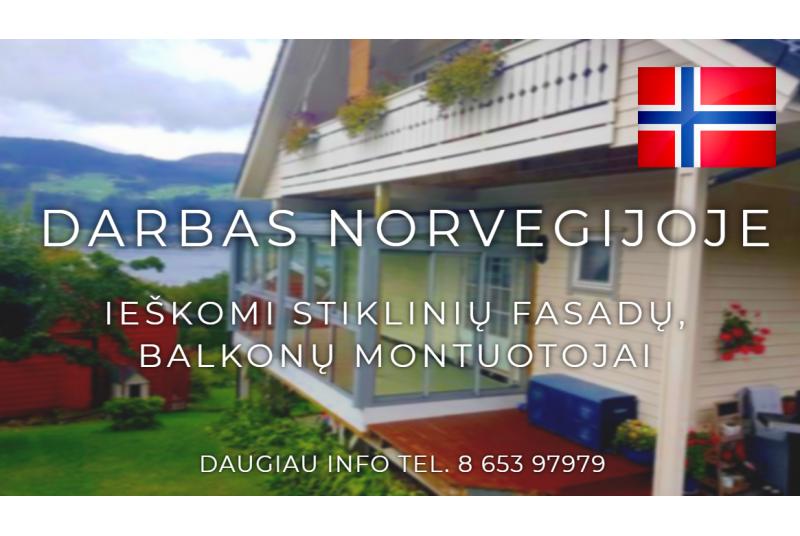 Darbas stiklinių fasadų, balkonų montuotojams Norvegijoje