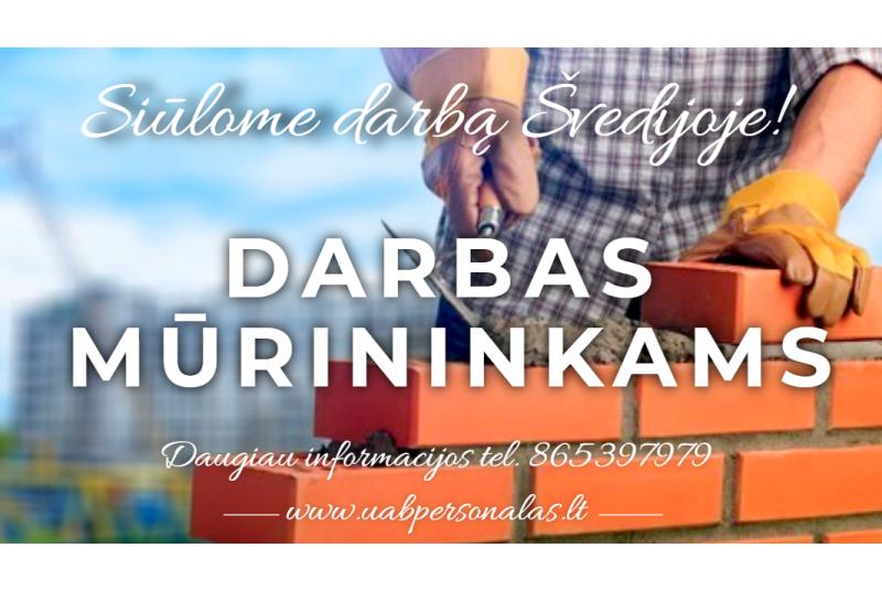 Darbas mūrininkams, staliams Švedijoje