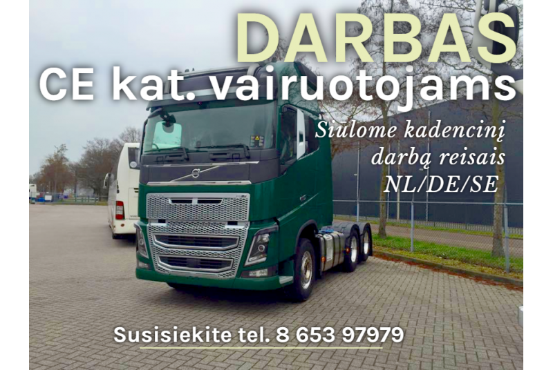 Darbas CE kategorijos vairuotojams su 95 kodu Olandijoje